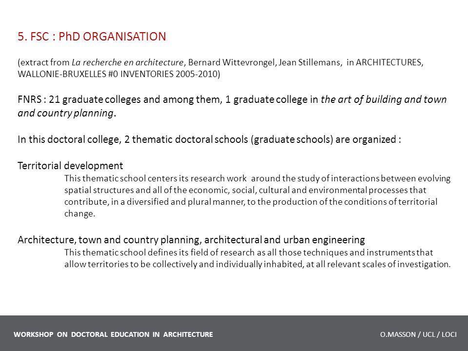 5. FSC : PhD ORGANISATION (extract from La recherche en architecture, Bernard Wittevrongel, Jean Stillemans, in ARCHITECTURES, WALLONIE-BRUXELLES #0 I