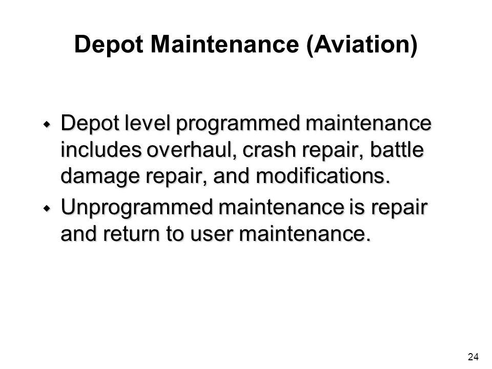24 Depot Maintenance (Aviation) w Depot level programmed maintenance includes overhaul, crash repair, battle damage repair, and modifications. w Unpro
