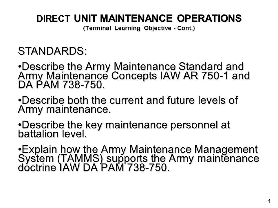 4 UNIT MAINTENANCE OPERATIONS (Terminal Learning Objective - Cont.) DIRECT UNIT MAINTENANCE OPERATIONS (Terminal Learning Objective - Cont.) STANDARDS