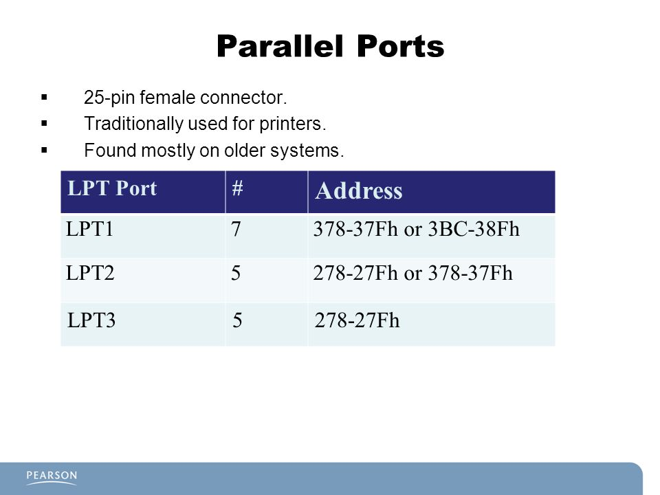 Parallel Ports 25-pin female connector. Traditionally used for printers. Found mostly on older systems. LPT Port# Address LPT17378-37Fh or 3BC-38Fh LP
