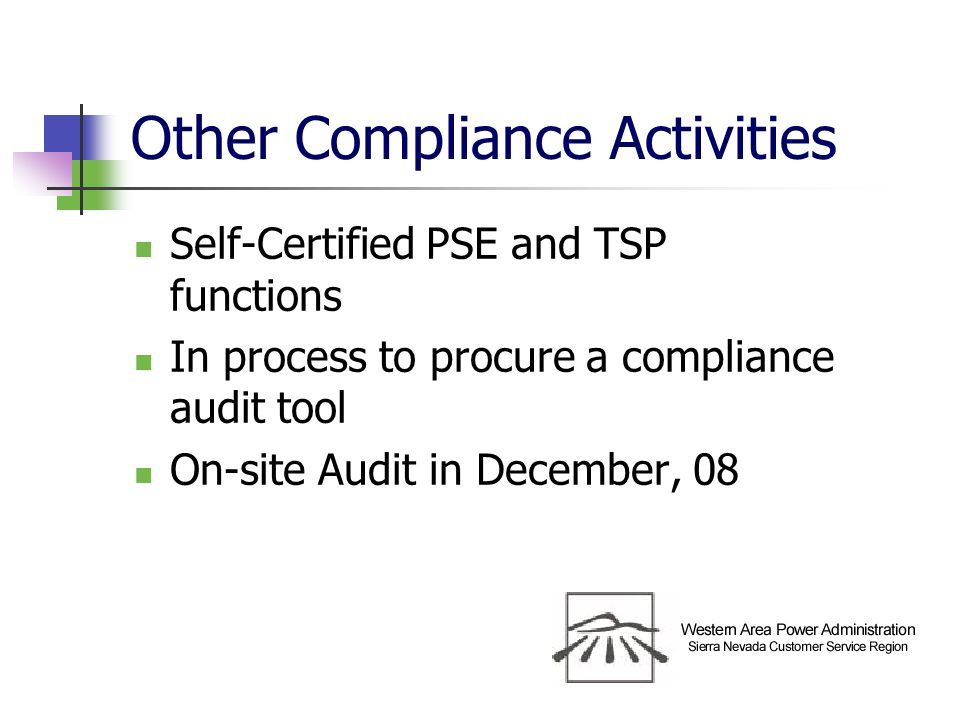 Other Compliance Activities Self-Certified PSE and TSP functions In process to procure a compliance audit tool On-site Audit in December, 08