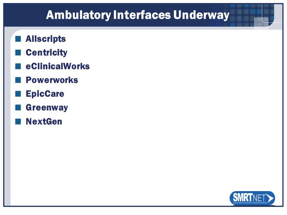 Ambulatory Interfaces Underway Allscripts Centricity eClinicalWorks Powerworks EpicCare Greenway NextGen