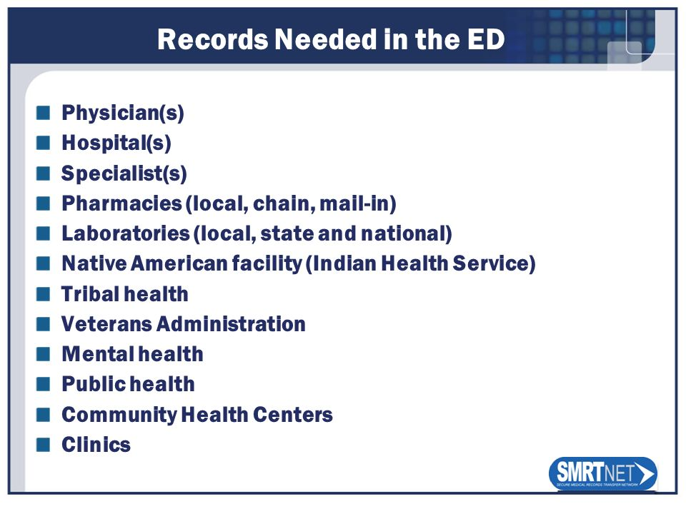 Records Needed in the ED Physician(s) Hospital(s) Specialist(s) Pharmacies (local, chain, mail-in) Laboratories (local, state and national) Native Ame