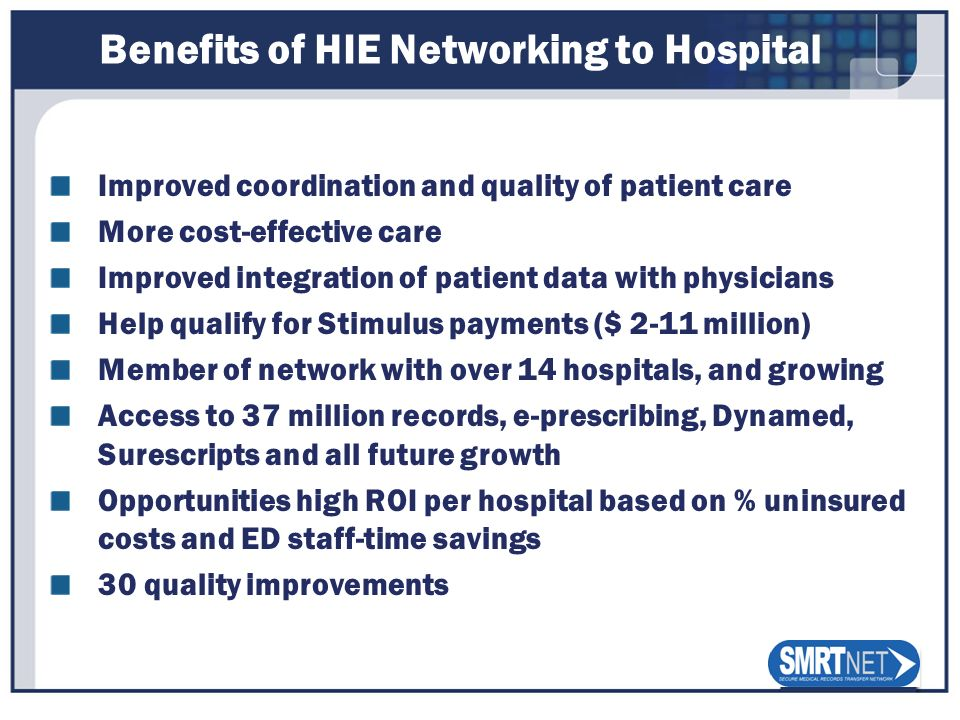 Benefits of HIE Networking to Hospital Improved coordination and quality of patient care More cost-effective care Improved integration of patient data