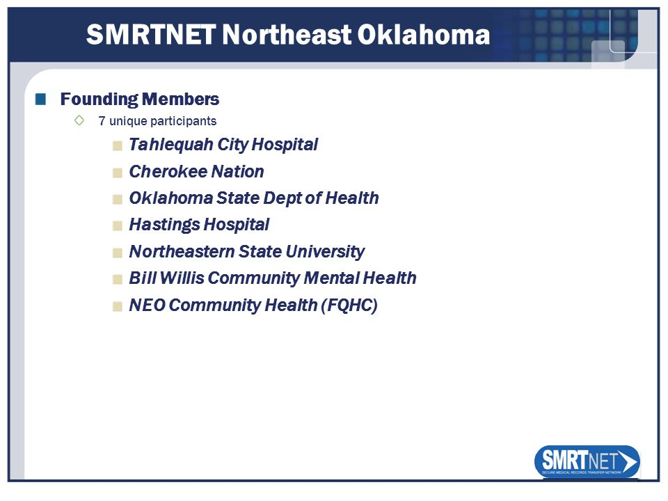 SMRTNET Northeast Oklahoma Founding Members 7 unique participants Tahlequah City Hospital Cherokee Nation Oklahoma State Dept of Health Hastings Hospi