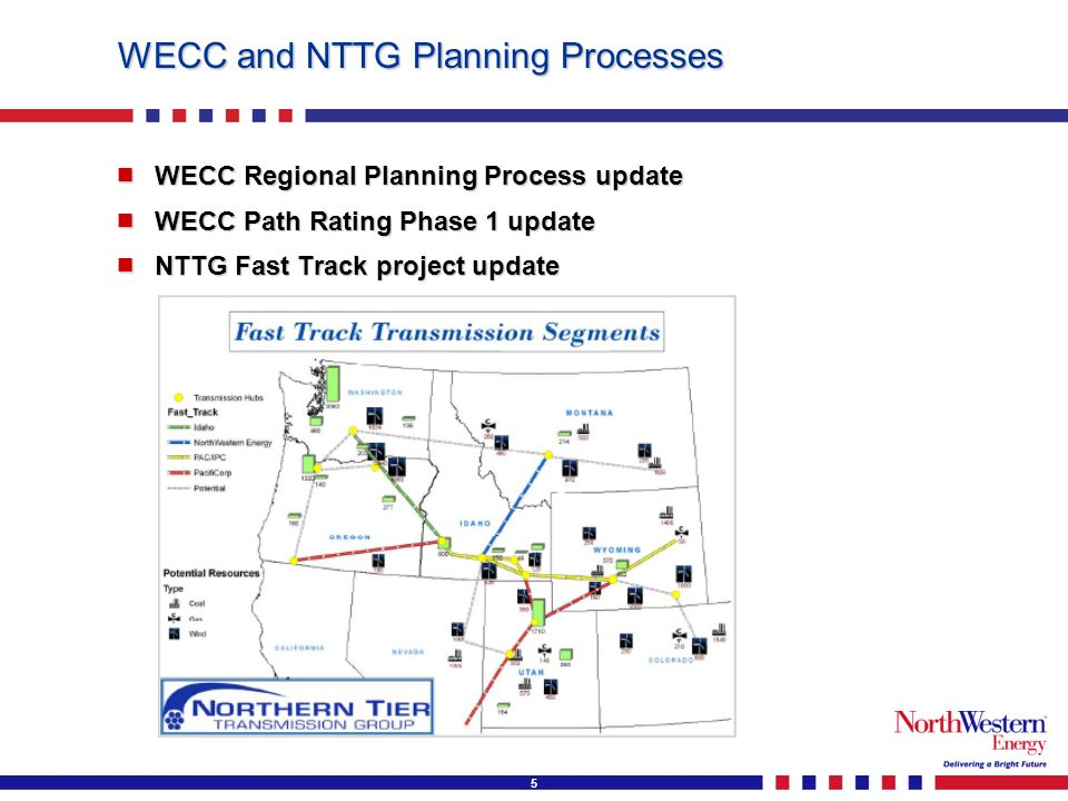 5 WECC and NTTG Planning Processes WECC Regional Planning Process update WECC Regional Planning Process update WECC Path Rating Phase 1 update WECC Path Rating Phase 1 update NTTG Fast Track project update NTTG Fast Track project update