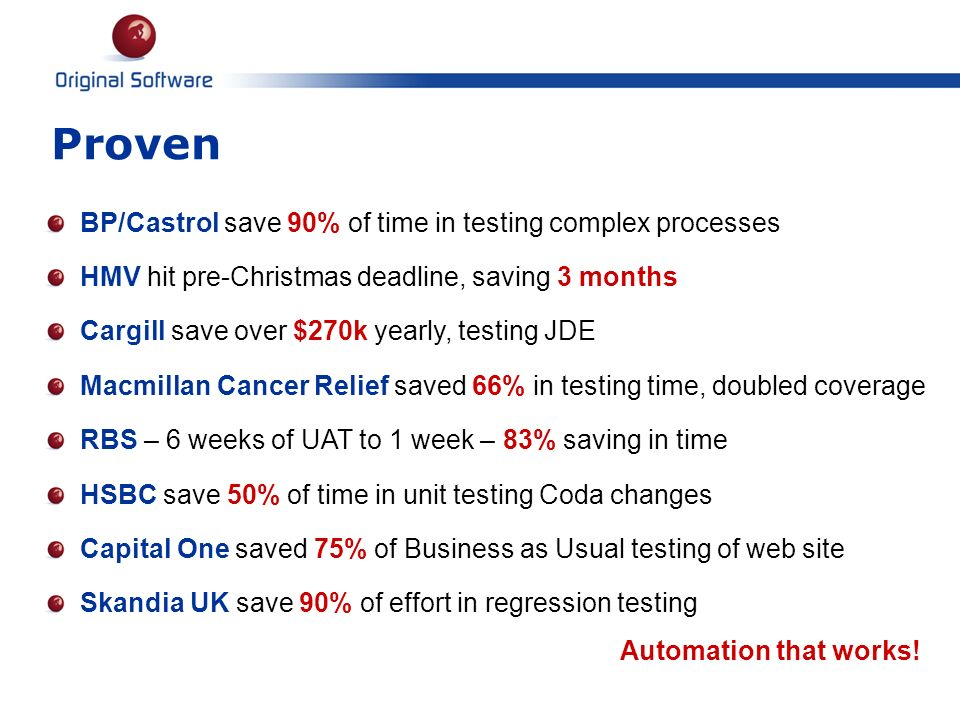 Proven BP/Castrol save 90% of time in testing complex processes HMV hit pre-Christmas deadline, saving 3 months Cargill save over $270k yearly, testin