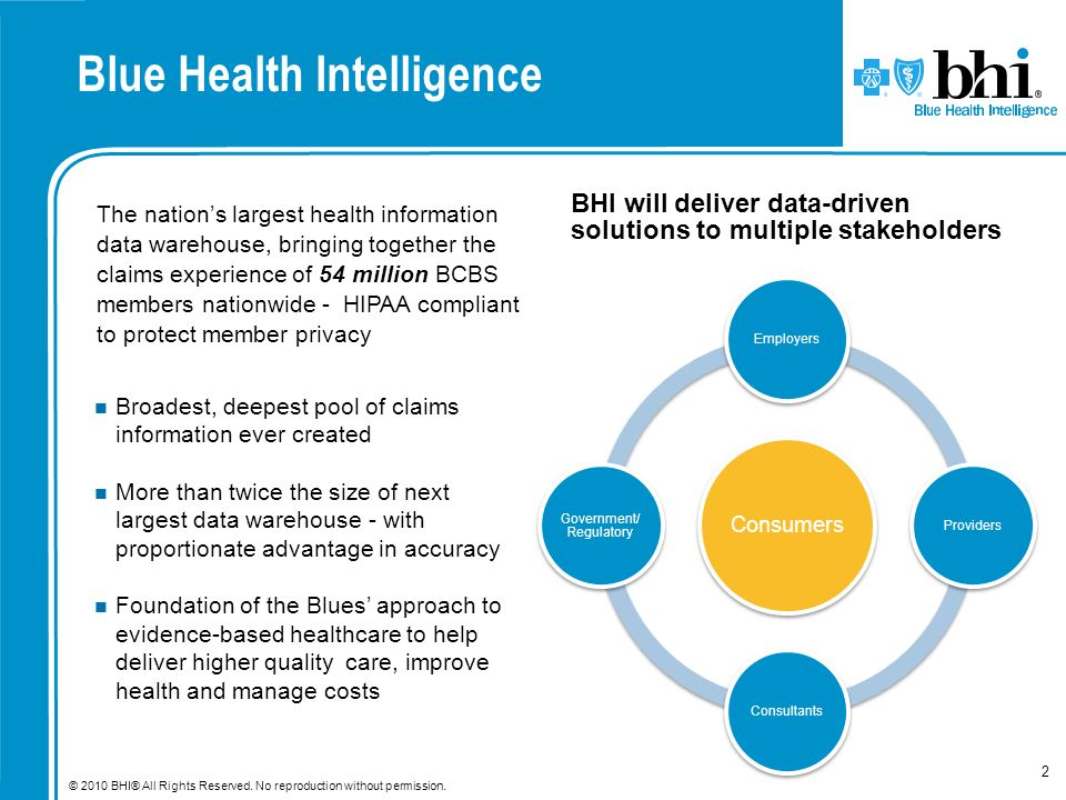 © 2010 BHI® All Rights Reserved. No reproduction without permission. 2 Blue Health Intelligence The nations largest health information data warehouse,