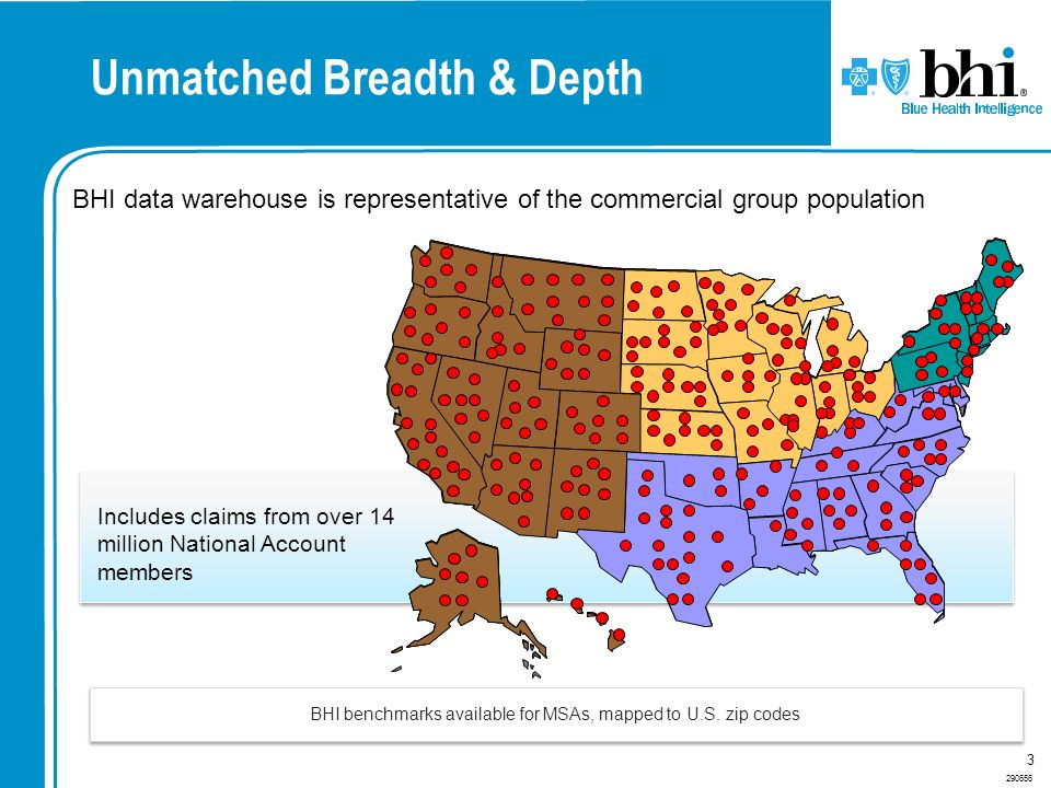 290656 3 BHI data warehouse is representative of the commercial group population BHI benchmarks available for MSAs, mapped to U.S. zip codes Unmatched