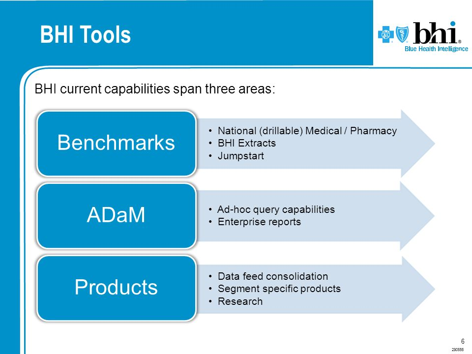 BHI current capabilities span three areas: BHI Tools National (drillable) Medical / Pharmacy BHI Extracts Jumpstart Benchmarks Ad-hoc query capabilities Enterprise reports ADaM Data feed consolidation Segment specific products Research Products