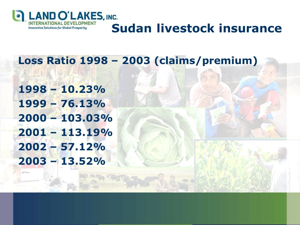 Sudan livestock insurance Loss Ratio 1998 – 2003 (claims/premium) 1998 – 10.23% 1999 – 76.13% 2000 – 103.03% 2001 – 113.19% 2002 – 57.12% 2003 – 13.52%