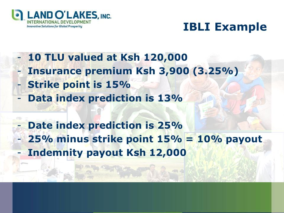 IBLI Example -10 TLU valued at Ksh 120,000 -Insurance premium Ksh 3,900 (3.25%) -Strike point is 15% -Data index prediction is 13% -Date index prediction is 25% -25% minus strike point 15% = 10% payout -Indemnity payout Ksh 12,000
