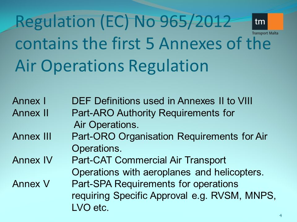 Regulation (EC) No 965/2012 contains the first 5 Annexes of the Air Operations Regulation Annex IDEF Definitions used in Annexes II to VIII Annex IIPart-ARO Authority Requirements for Air Operations.
