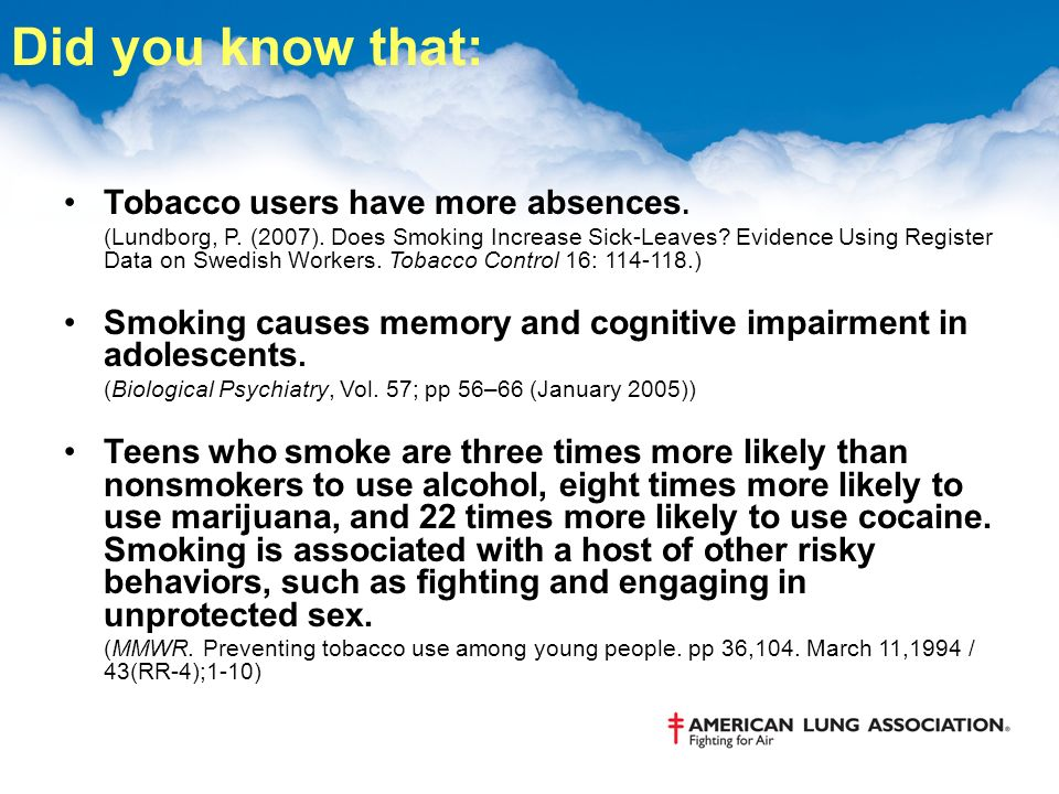Did you know that: Tobacco users have more absences.