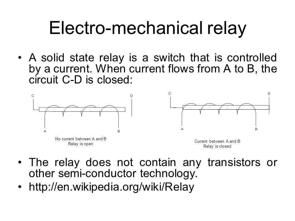 Electro-mechanical relay A solid state relay is a switch that is controlled by a current.