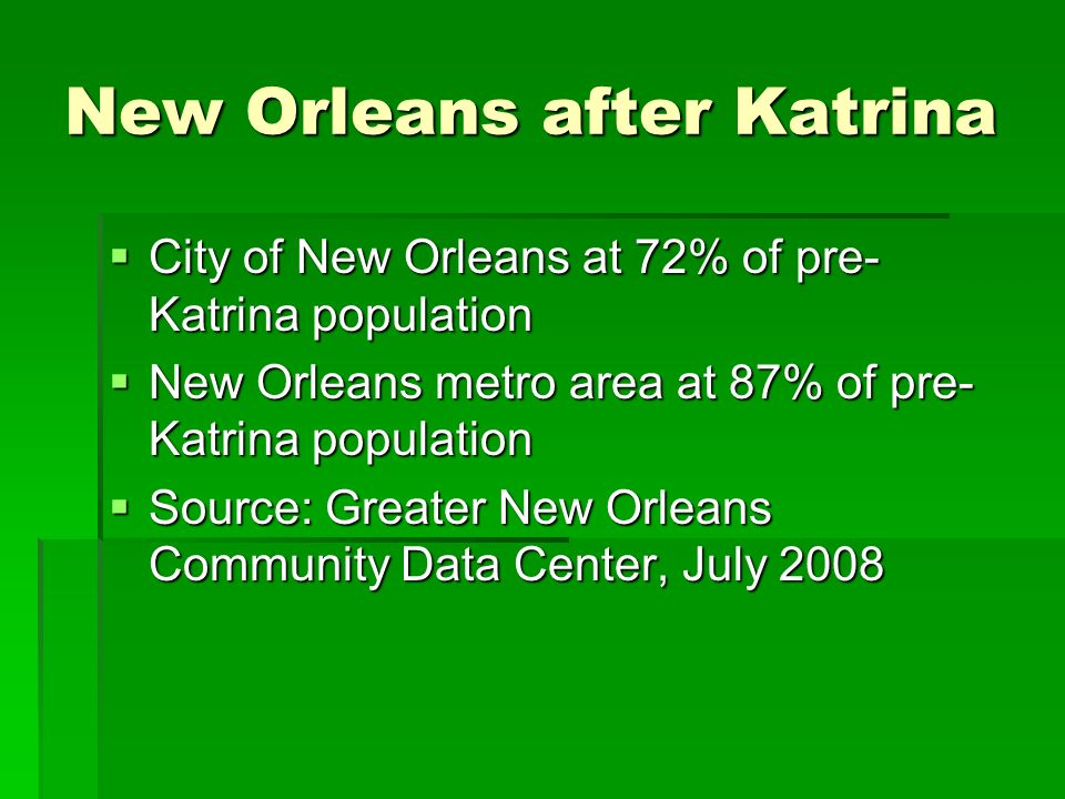 New Orleans after Katrina City of New Orleans at 72% of pre- Katrina population City of New Orleans at 72% of pre- Katrina population New Orleans metro area at 87% of pre- Katrina population New Orleans metro area at 87% of pre- Katrina population Source: Greater New Orleans Community Data Center, July 2008 Source: Greater New Orleans Community Data Center, July 2008