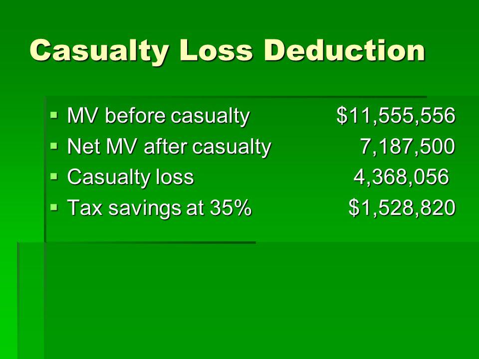 Casualty Loss Deduction MV before casualty$11,555,556 MV before casualty$11,555,556 Net MV after casualty 7,187,500 Net MV after casualty 7,187,500 Casualty loss 4,368,056 Casualty loss 4,368,056 Tax savings at 35% $1,528,820 Tax savings at 35% $1,528,820
