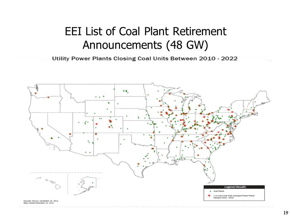 19 EEI List of Coal Plant Retirement Announcements (48 GW)