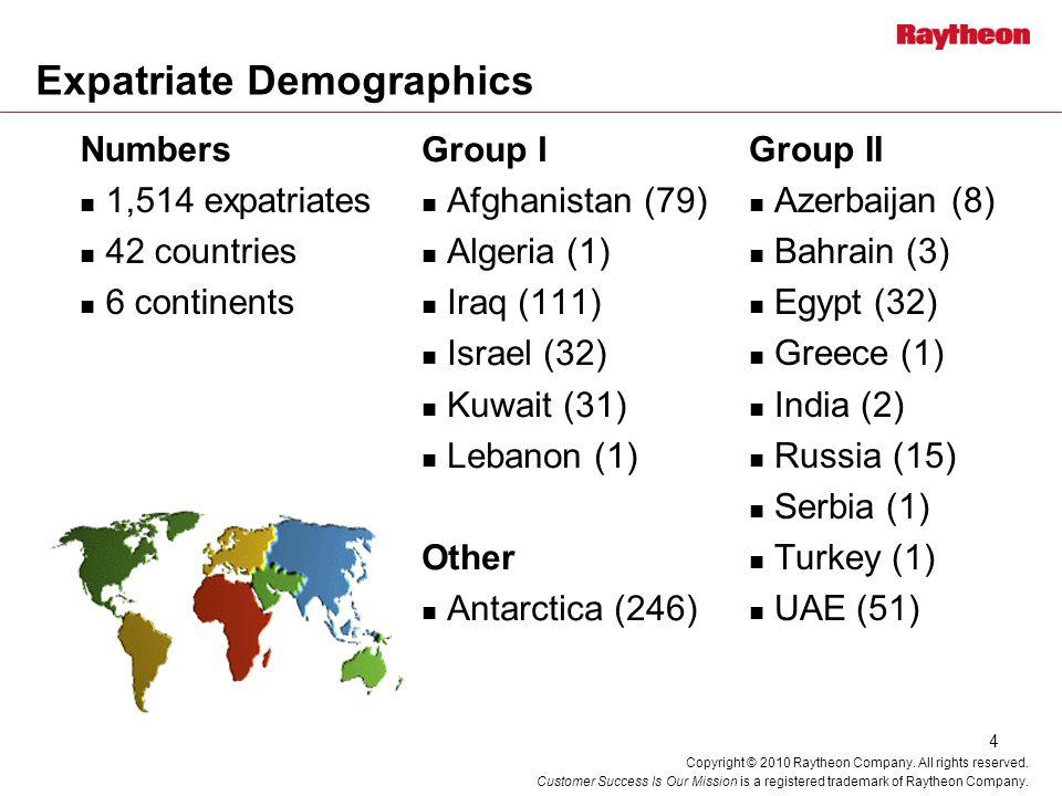 4 Expatriate Demographics Group I Afghanistan (79) Algeria (1) Iraq (111) Israel (32) Kuwait (31) Lebanon (1) Other Antarctica (246) Group II Azerbaij