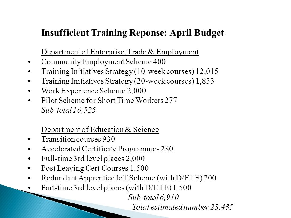 Insufficient Training Reponse: April Budget Department of Enterprise, Trade & Employment Community Employment Scheme 400 Training Initiatives Strategy