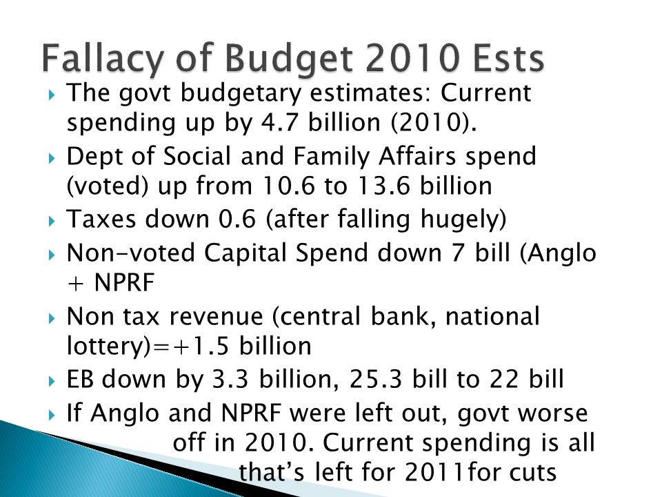 The govt budgetary estimates: Current spending up by 4.7 billion (2010). Dept of Social and Family Affairs spend (voted) up from 10.6 to 13.6 billion