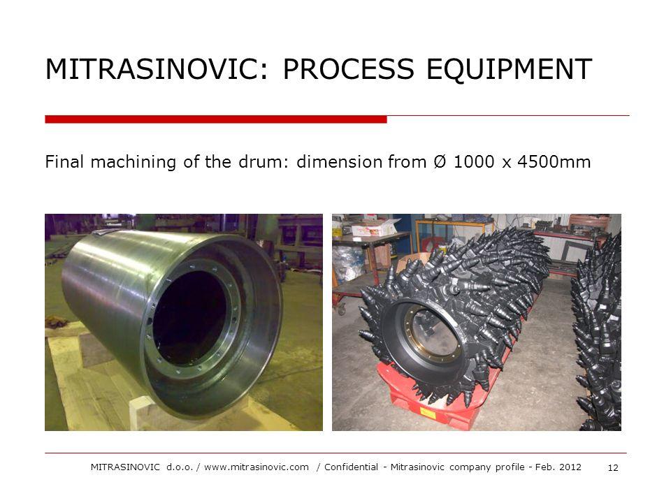 Final machining of the drum: dimension from Ø 1000 x 4500mm MITRASINOVIC: PROCESS EQUIPMENT 12 MITRASINOVIC d.o.o. / www.mitrasinovic.com / Confidenti