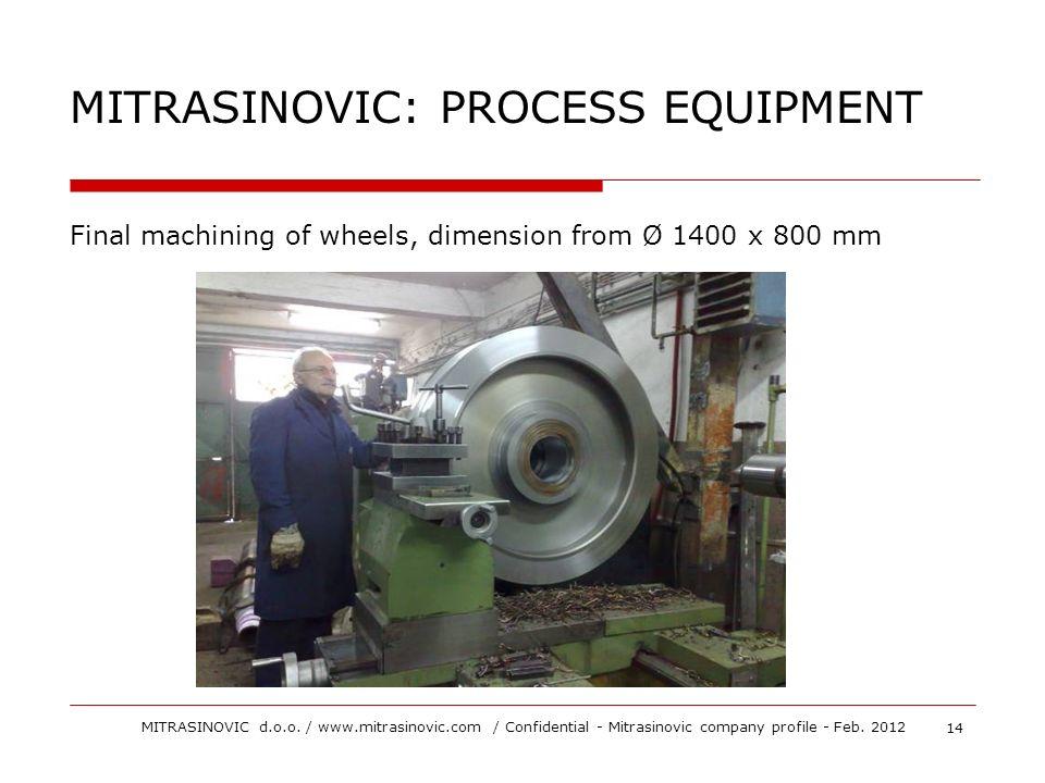 Final machining of wheels, dimension from Ø 1400 x 800 mm MITRASINOVIC: PROCESS EQUIPMENT 14 MITRASINOVIC d.o.o. / www.mitrasinovic.com / Confidential