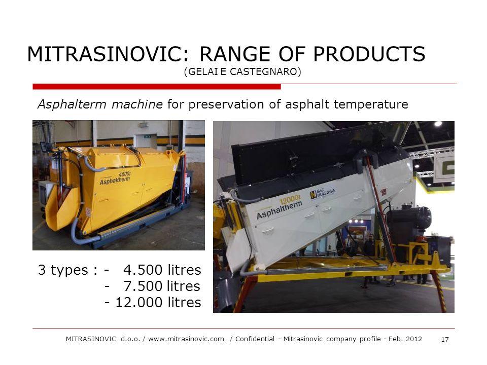 3 types : - 4.500 litres - 7.500litres - 12.000 litres MITRASINOVIC: RANGE OF PRODUCTS (GELAI E CASTEGNARO) Asphalterm machine for preservation of asp