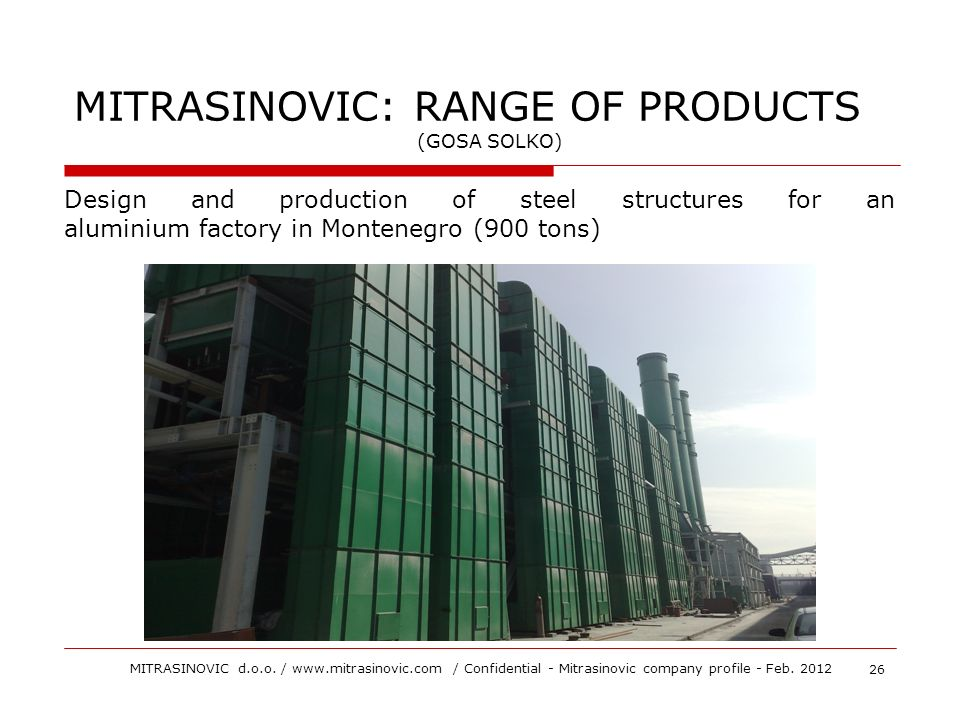 Design and production of steel structures for an aluminium factory in Montenegro (900 tons) MITRASINOVIC: RANGE OF PRODUCTS (GOSA SOLKO) 26 MITRASINOV