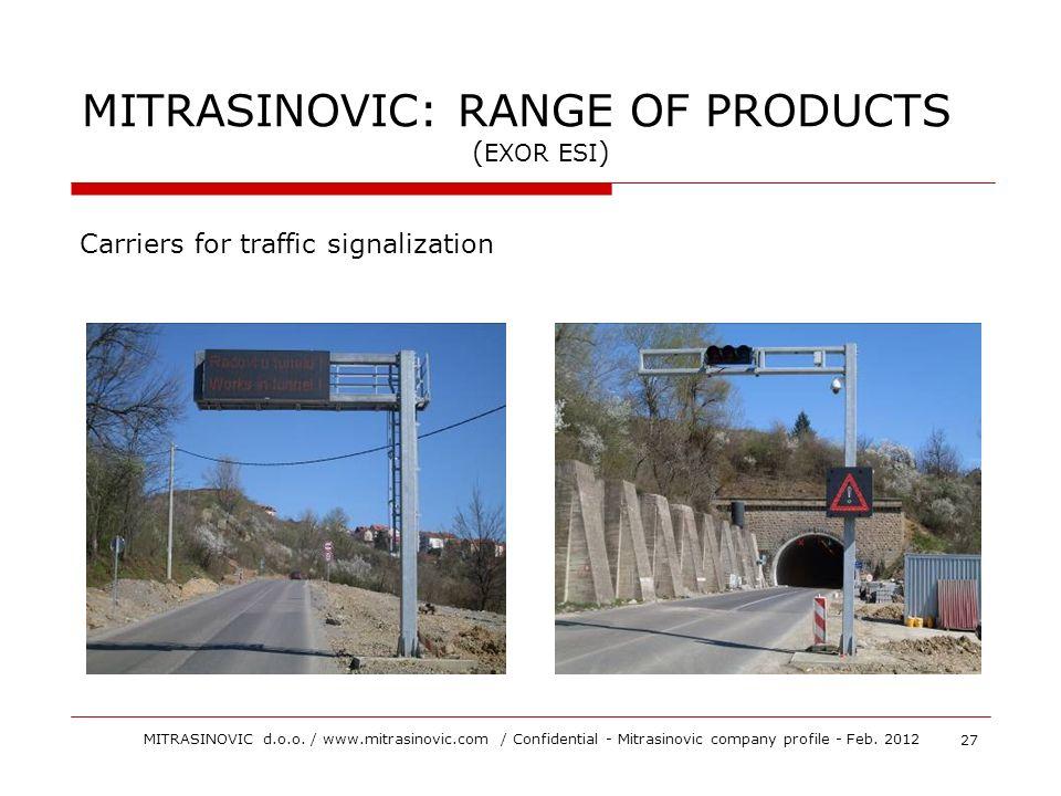 Carriers for traffic signalization 27 MITRASINOVIC d.o.o. / www.mitrasinovic.com / Confidential - Mitrasinovic company profile - Feb. 2012 MITRASINOVI