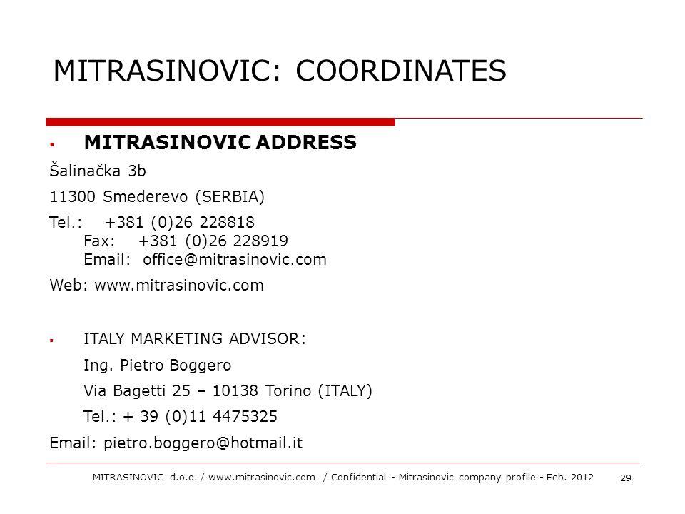 MITRASINOVIC ADDRESS Šalinačka 3b 11300 Smederevo (SERBIA) Tel.: +381 (0)26 228818 Fax: +381 (0)26 228919 Email: office@mitrasinovic.com Web: www.mitr