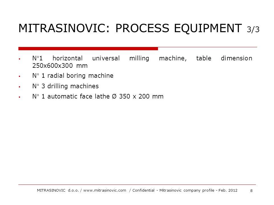 N°1 horizontal universal milling machine, table dimension 250x600x300 mm N° 1 radial boring machine N° 3 drilling machines N° 1 automatic face lathe Ø