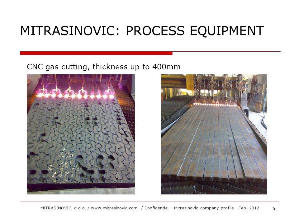MITRASINOVIC: PROCESS EQUIPMENT CNC gas cutting, thickness up to 400mm 9 MITRASINOVIC d.o.o. / www.mitrasinovic.com / Confidential - Mitrasinovic comp