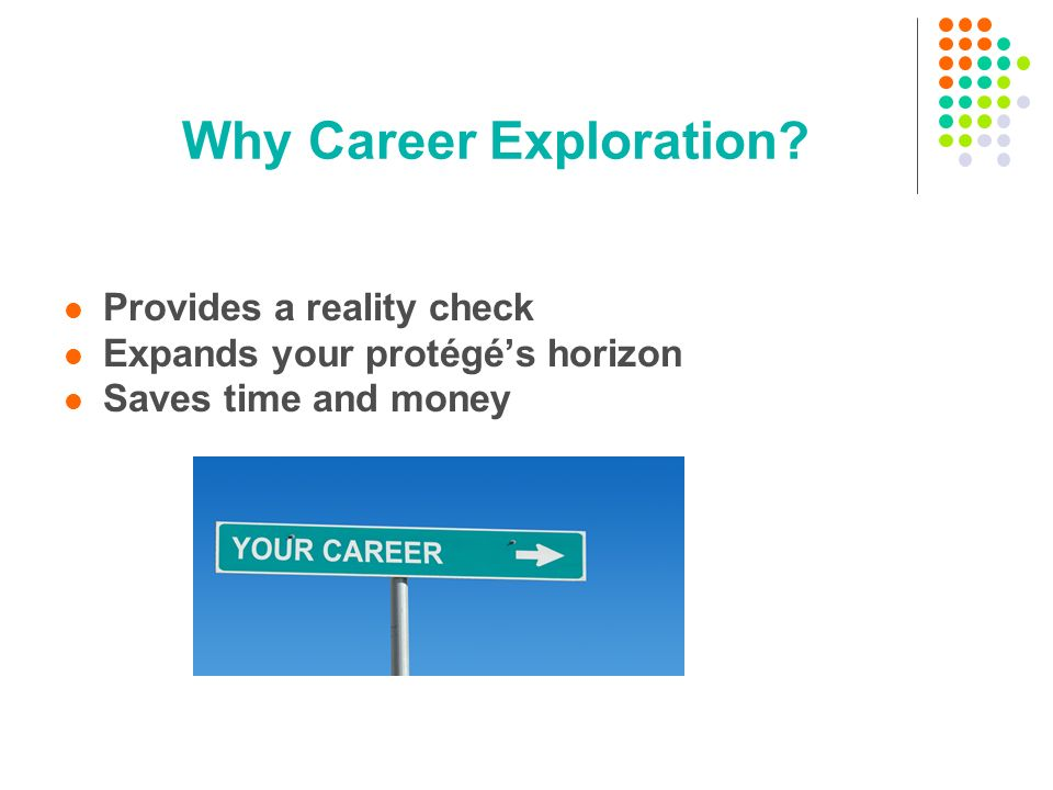 Why Career Exploration Provides a reality check Expands your protégés horizon Saves time and money