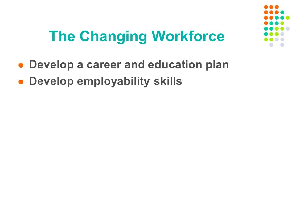 The Changing Workforce Develop a career and education plan Develop employability skills