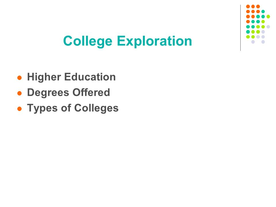 College Exploration Higher Education Degrees Offered Types of Colleges