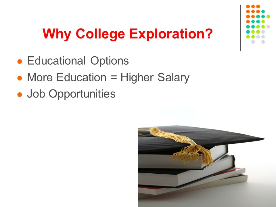 Why College Exploration Educational Options More Education = Higher Salary Job Opportunities