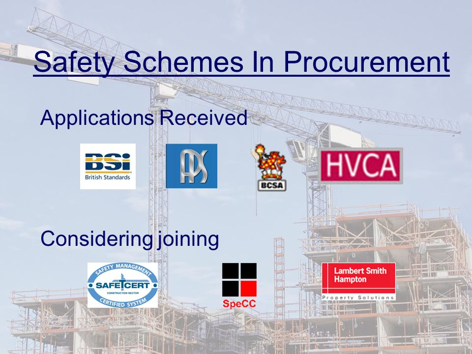 Safety Schemes In Procurement Applications Received Considering joining