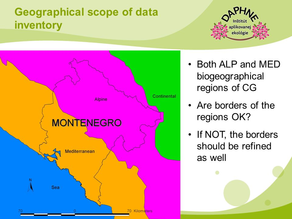 Geographical scope of data inventory Both ALP and MED biogeographical regions of CG Are borders of the regions OK? If NOT, the borders should be refin