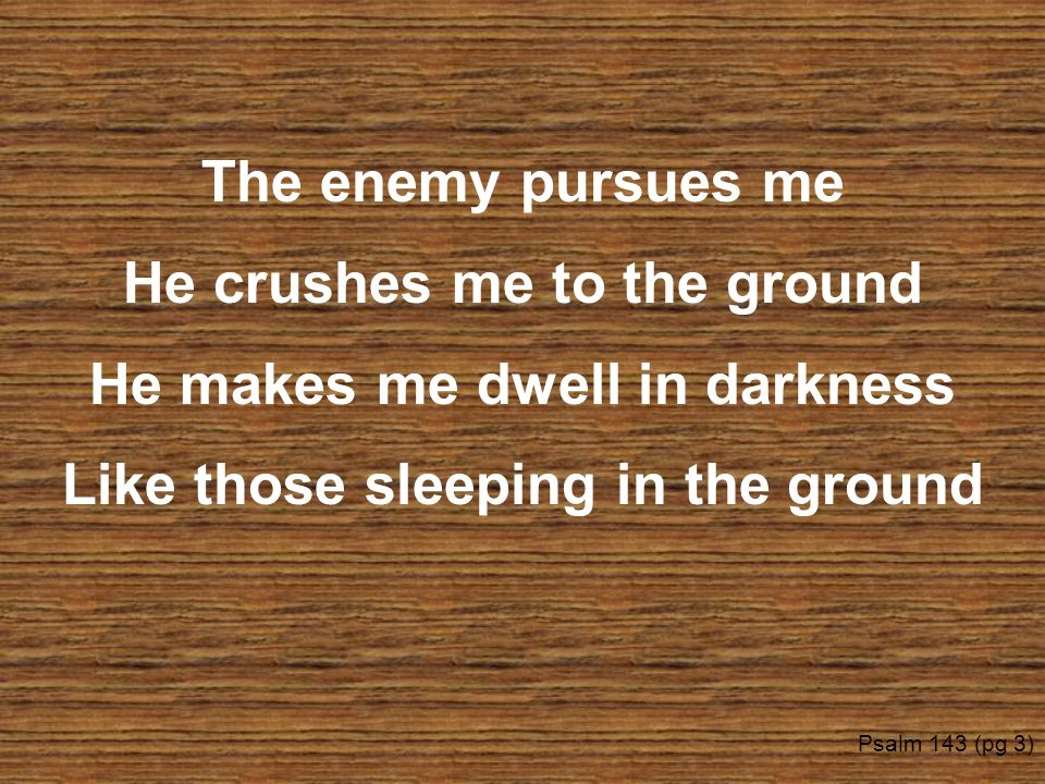 The enemy pursues me He crushes me to the ground He makes me dwell in darkness Like those sleeping in the ground Psalm 143 (pg 3)