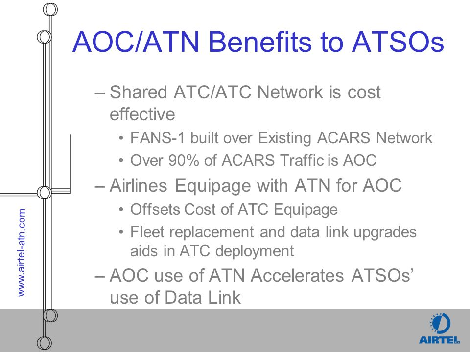 www.airtel-atn.com AOC/ATN Benefits to ATSOs –Shared ATC/ATC Network is cost effective FANS-1 built over Existing ACARS Network Over 90% of ACARS Traf