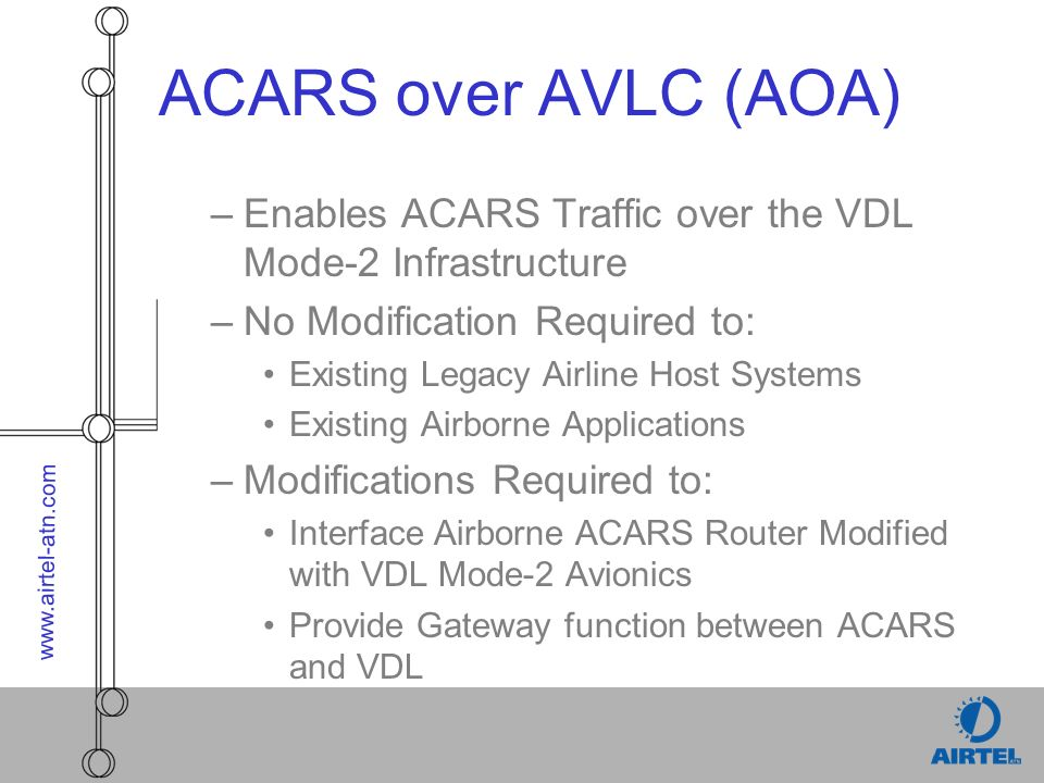 www.airtel-atn.com ACARS over AVLC (AOA) –Enables ACARS Traffic over the VDL Mode-2 Infrastructure –No Modification Required to: Existing Legacy Airli