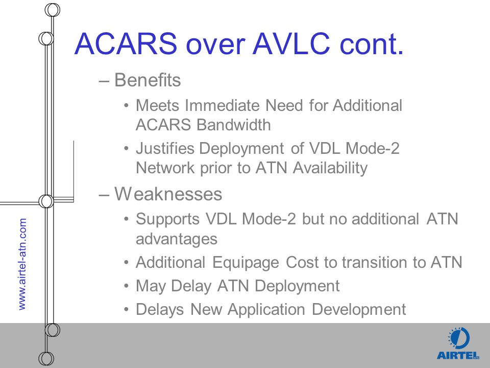 www.airtel-atn.com ACARS over AVLC cont. –Benefits Meets Immediate Need for Additional ACARS Bandwidth Justifies Deployment of VDL Mode-2 Network prio