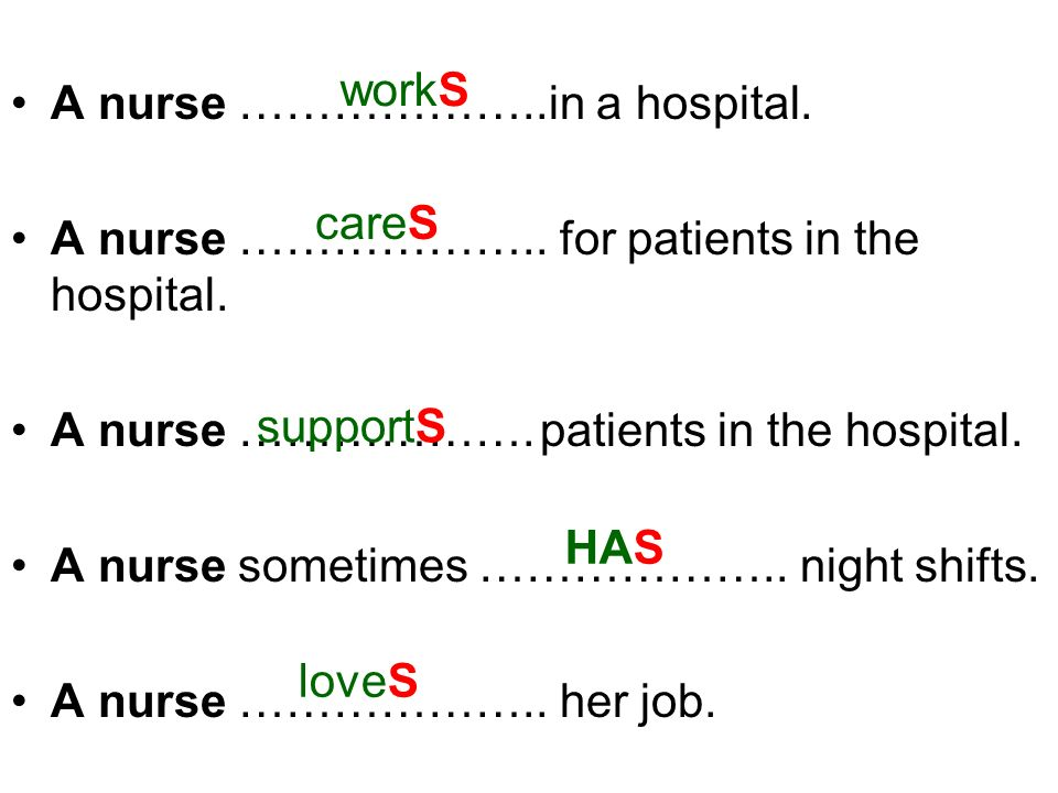 A nurse ………………..in a hospital. A nurse ……………….. for patients in the hospital. A nurse ……………….patients in the hospital. A nurse sometimes ……………….. nigh