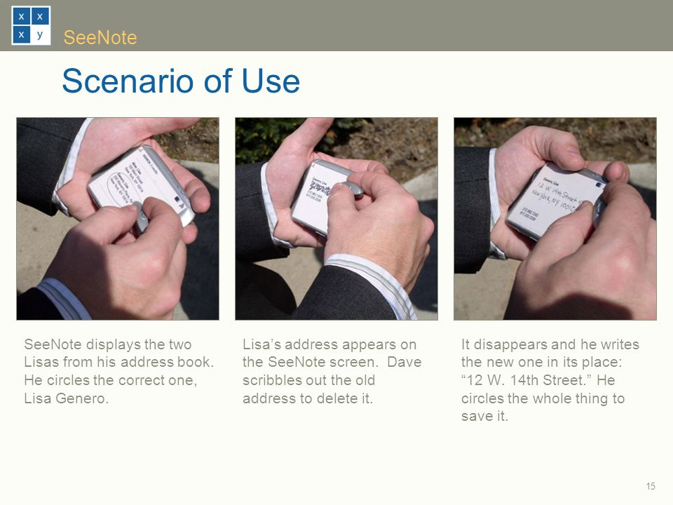 15 SeeNote Scenario of Use It disappears and he writes the new one in its place: 12 W.