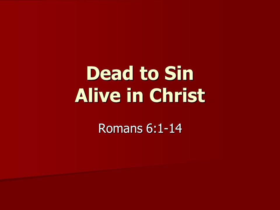Dead to Sin Alive in Christ Romans 6:1-14