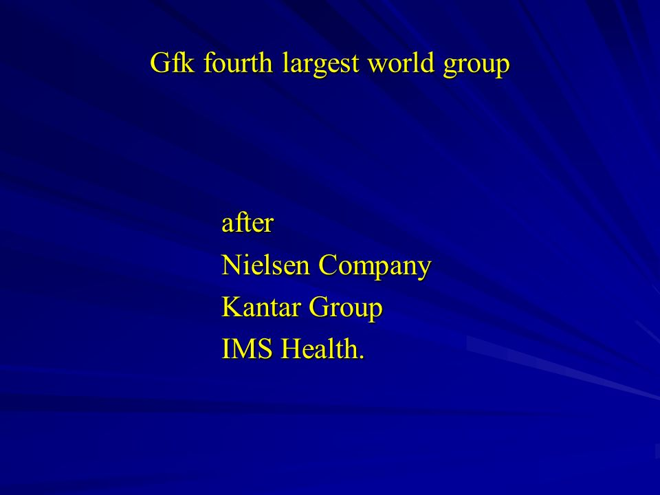 Gfk fourth largest world group after after Nielsen Company Nielsen Company Kantar Group Kantar Group IMS Health. IMS Health.