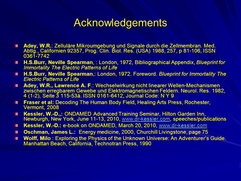 Acknowledgements Adey, W.R.: Zelluläre Mikroumgebung und Signale durch die Zellmembran. Med. Abtlg., Californien 92357, Prog. Clin. Biol. Res. (USA) 1