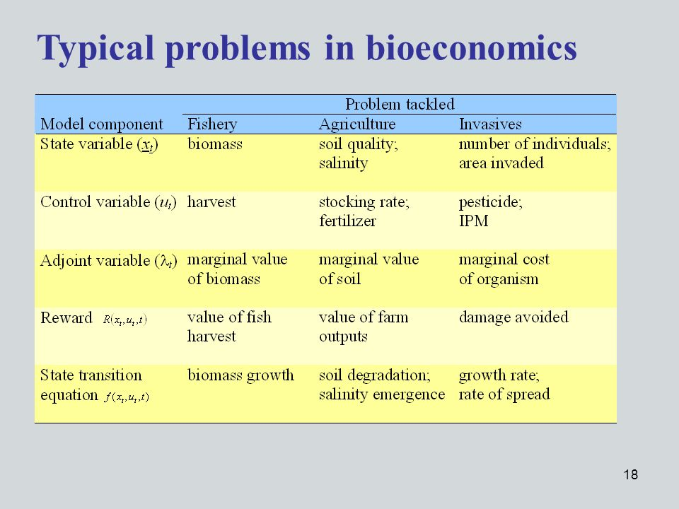 18 Typical problems in bioeconomics
