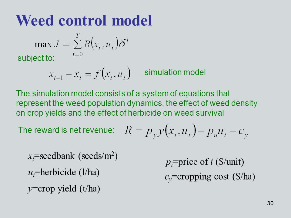 30 Weed control model subject to: simulation model The simulation model consists of a system of equations that represent the weed population dynamics, the effect of weed density on crop yields and the effect of herbicide on weed survival The reward is net revenue: x t =seedbank (seeds/m 2 ) u t =herbicide (l/ha) y=crop yield (t/ha) p i =price of i ($/unit) c y =cropping cost ($/ha)